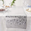 9Ft Silver Glitzing Table Runner, Disposable Glitter Paper Table Runner with Vintage Floral Design