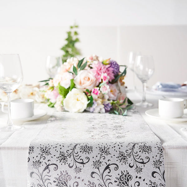 9Ft Silver Glitter Paper Table Runner Roll, Disposable Table Runner with Vintage Floral Design