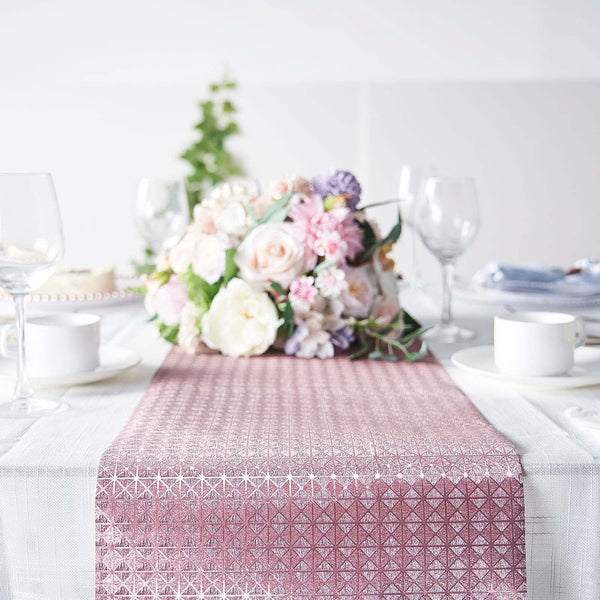 9Ft Glitter Paper Table Runner Roll, Disposable Table Runner with Geometric Diamond Design - Rose Gold | Blush