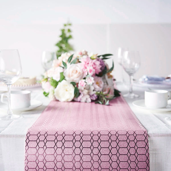 9Ft Glitter Paper Table Runner Roll, Disposable Table Runner with Geometric Honeycomb Design - Rose Gold | Blush