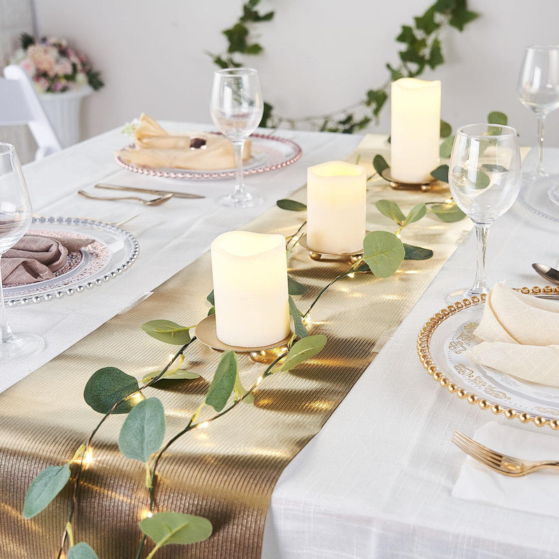 9Ft Gold Glitzing Table Runner, Disposable Glitter Paper Table Runner with Ridge Pattern