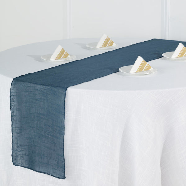 "12""x108"" Blue Linen Table Runner, Slubby Textured Wrinkle Resistant Table Runner"