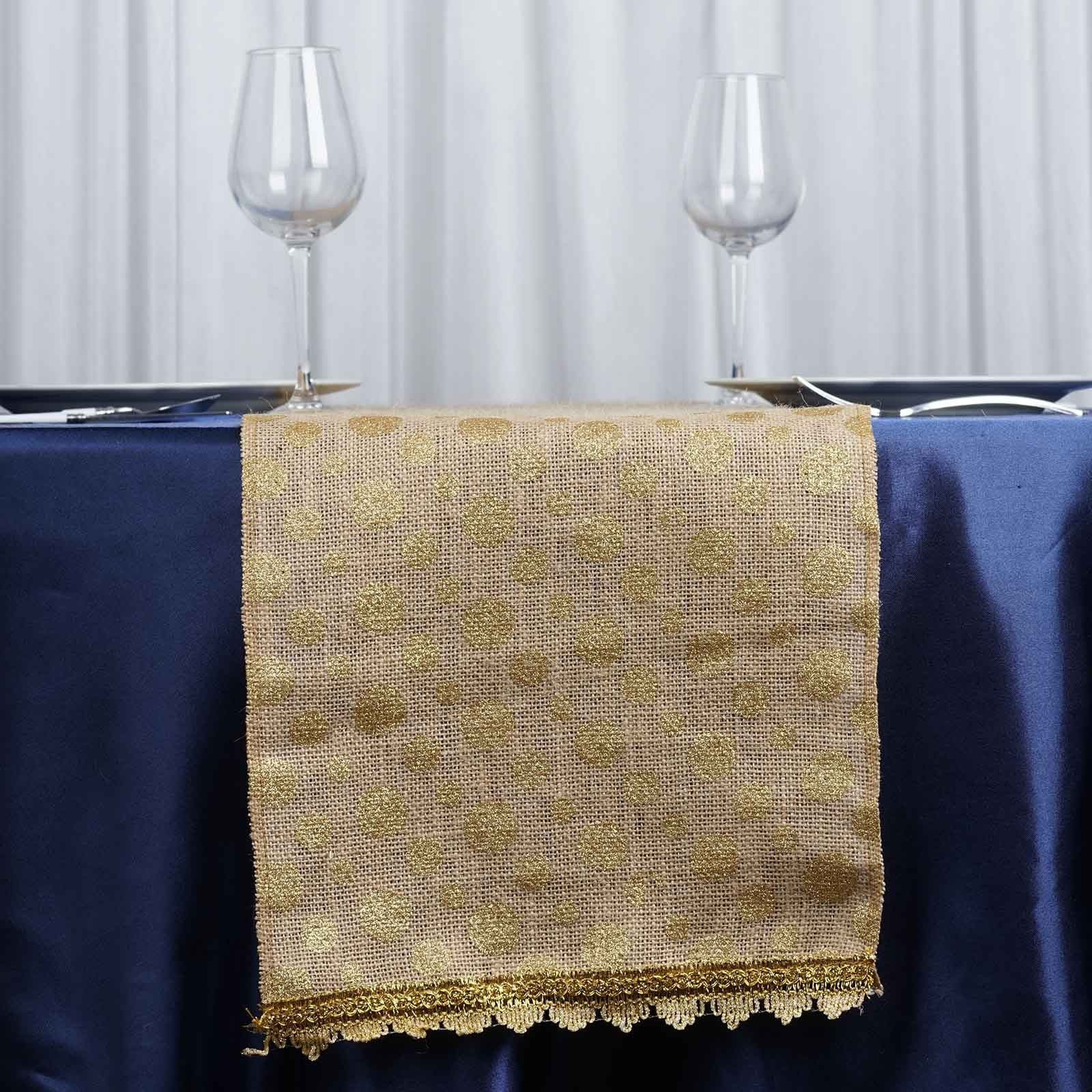 Wholesale Gold Polka Dots Natural Burlap Jute Table Runner For