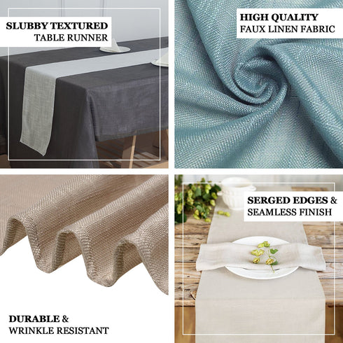 "12""x108"" Taupe Linen Table Runner, Slubby Textured Wrinkle Resistant Table Runner"
