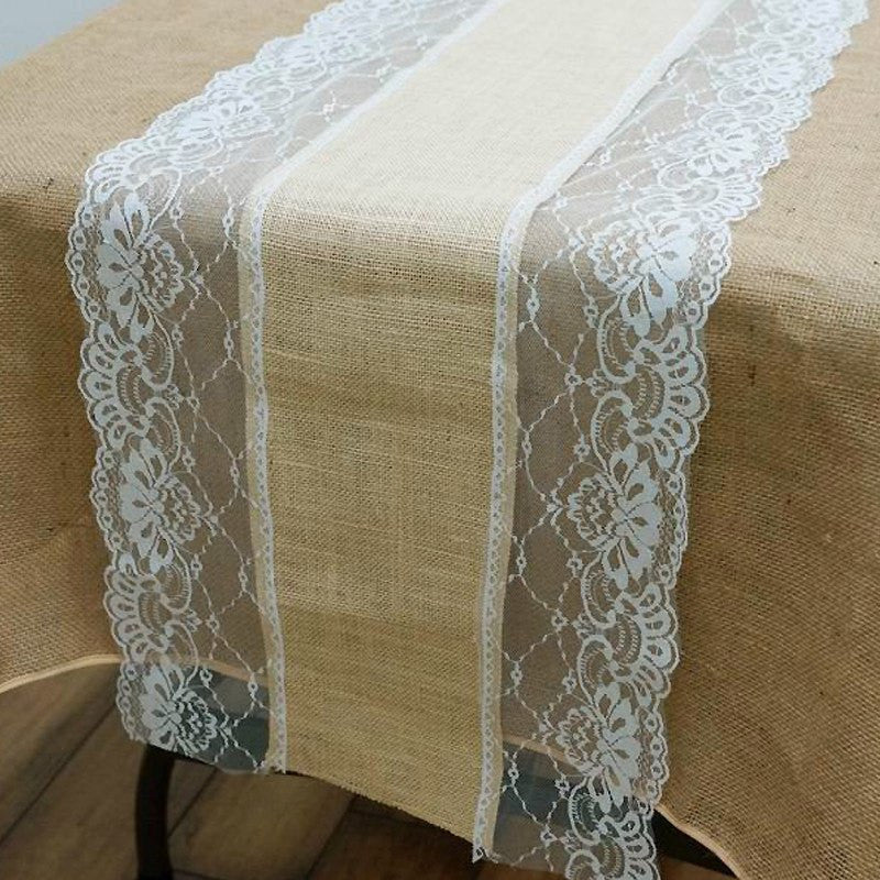 COUNTRY WESTERN Fine Rustic Burlap Runner w/ Lace Natural Tone & White