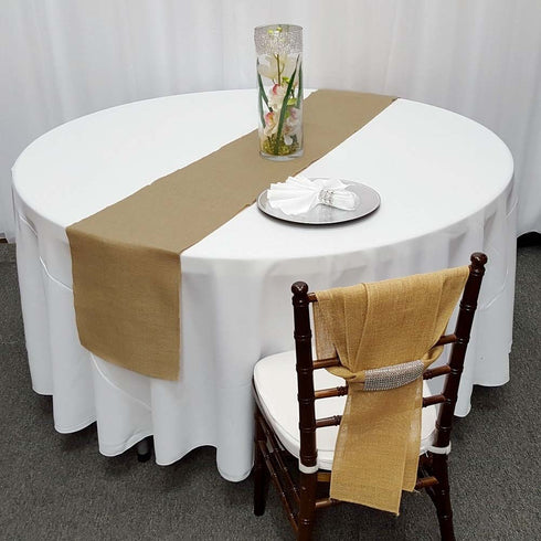 "14""x108"" Natural Rustic Burlap Table Runner"