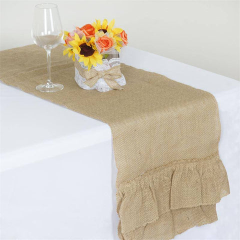 CHAMBURY CASA Ruffled Rustic Burlap Runner - Natural