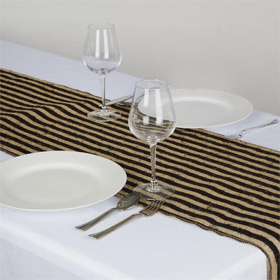 CHAMBURY CASA Splendid Burlap Runner Natural Tone + Black Stripes