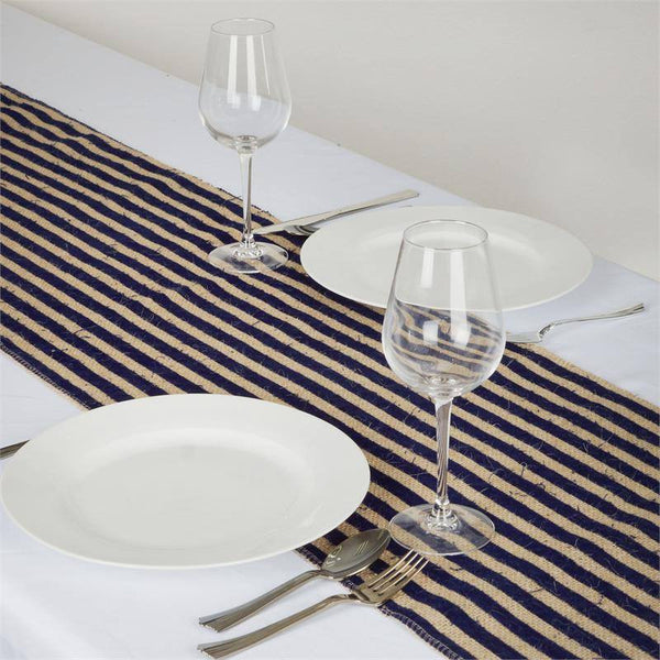 "14""x108"" Navy Blue Stripes Natural Burlap Table Runner"