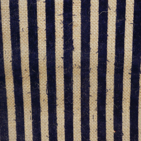 CHAMBURY CASA Splendid Burlap Runner Natural Tone + Navy Blue Stripes