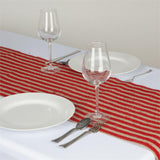 "Stripes Natural Burlap Table Runner - 14"" x 108"" - Red"
