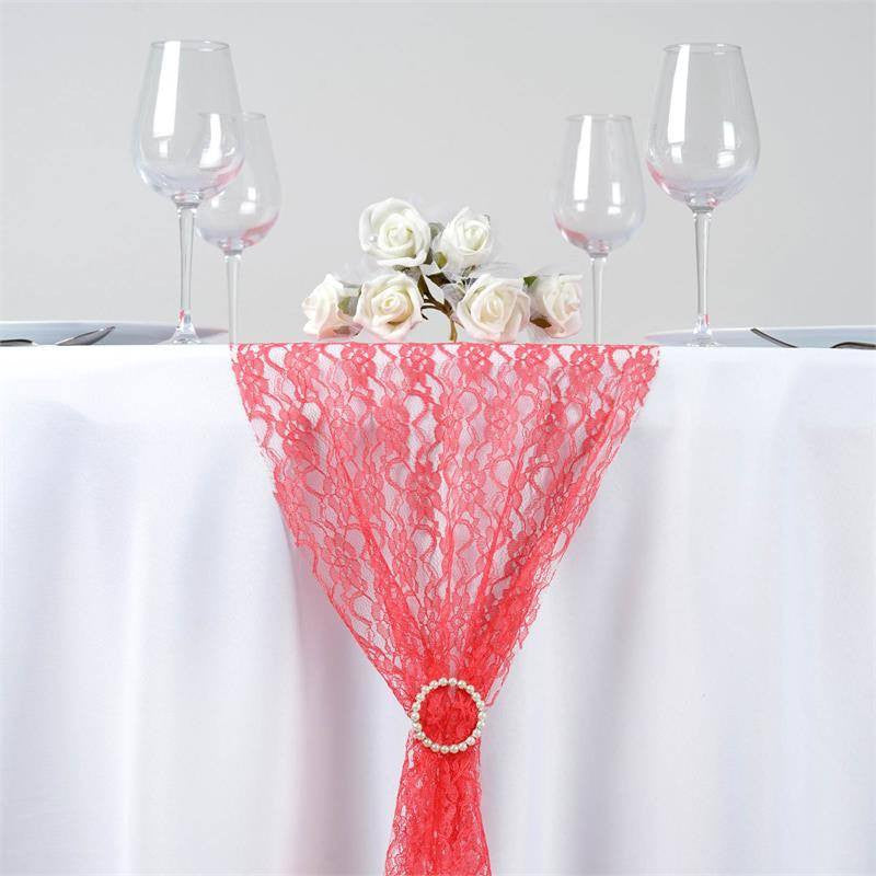 Floral Lace Table Runner   Coral