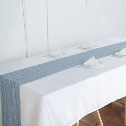 "12"" x 108"" Dusty Blue Floral Lace Table Runner"