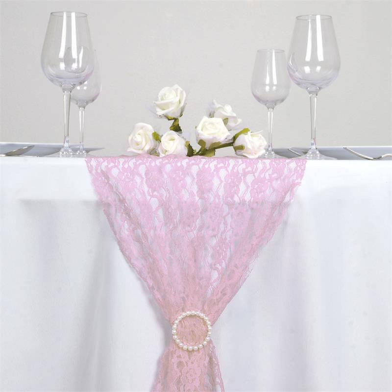 floral lace table runner pink efavormart. Black Bedroom Furniture Sets. Home Design Ideas