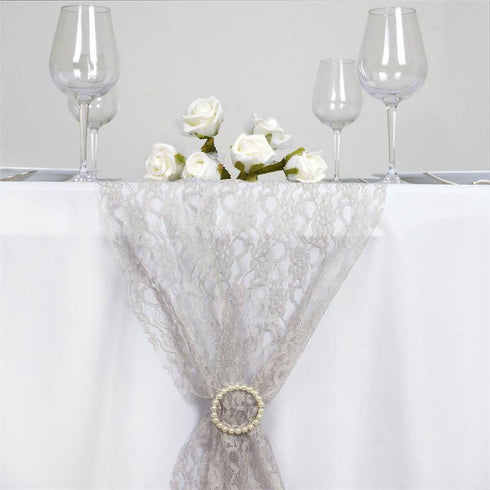 "12"" X 108"" Silver Floral Lace Table Runner"