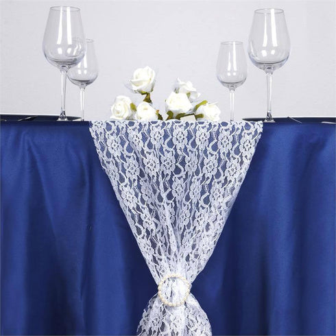 "12"" x 108"" White Floral Lace Table Runner"