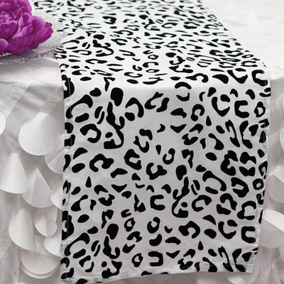 Snow Leopard Table Runner   Black / White