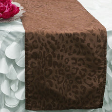"12""x108"" Taffeta Velvet Leopard Cheetah Print Runner For Table Top Wedding Catering Party Decorations - Chocolate / Chocolate( Sold Out )"