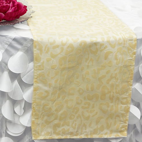 Ivory Leopard Table Runner - Ivory / Ivory