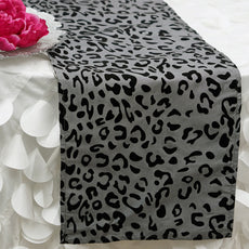 Silver Leopard Table Runner - Silver / Black