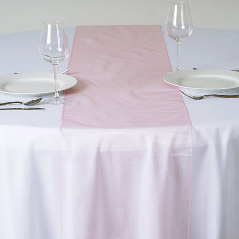 Rose Quartz Organza Table Runner