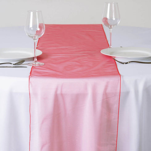 Coral Organza Table Runner