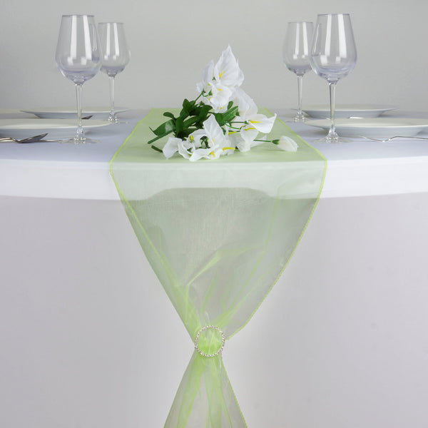 "14""x108"" Apple Green Organza Runner"