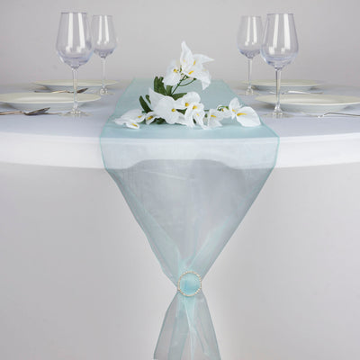 "14""x108"" Blue Organza Runner"