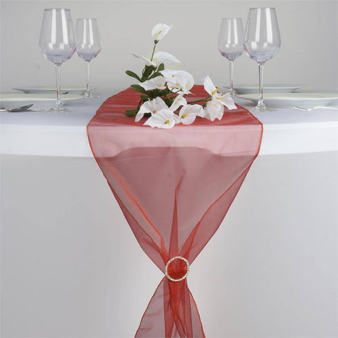 Burnt Orange Organza Table Runner