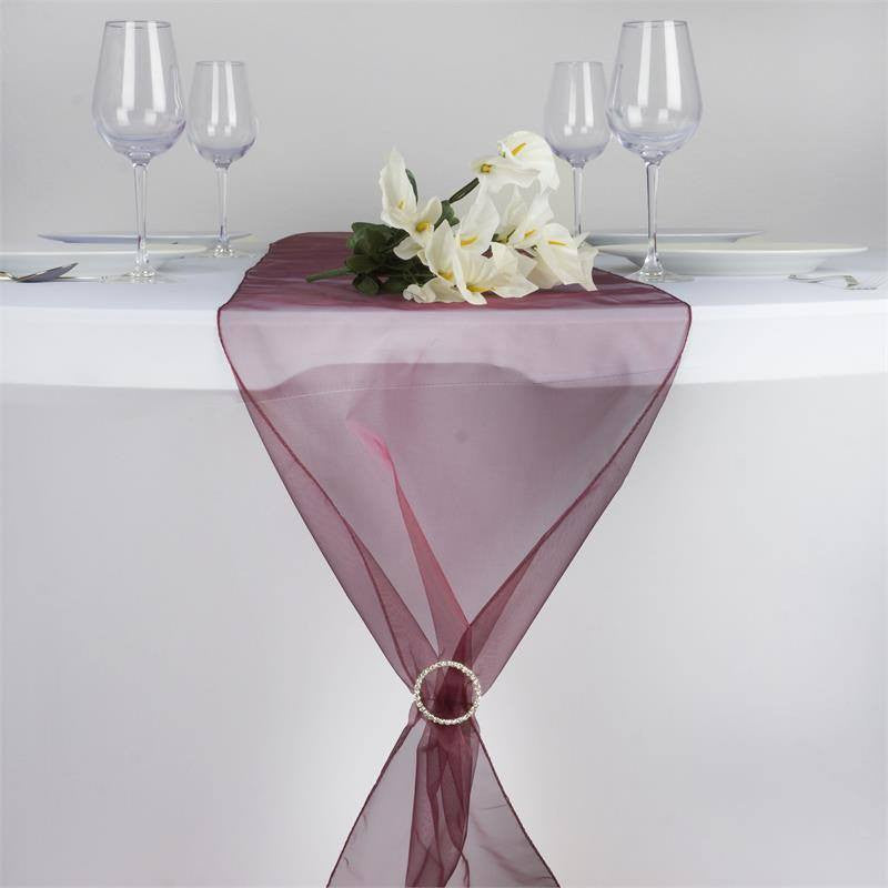 Burgundy Organza Table Runner