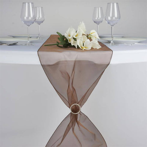 Chocolate Organza Table Runner