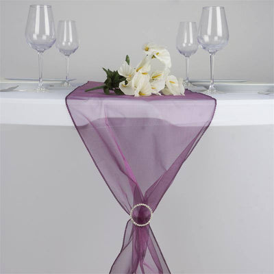 Eggplant Organza Table Runner