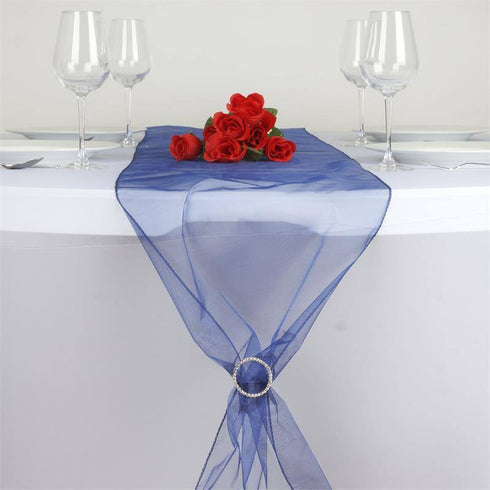 Navy Blue Organza Table Runner