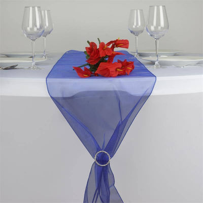"14"" x 108"" Royal Blue Organza Runner For Table Top Wedding Catering Party Decoration"
