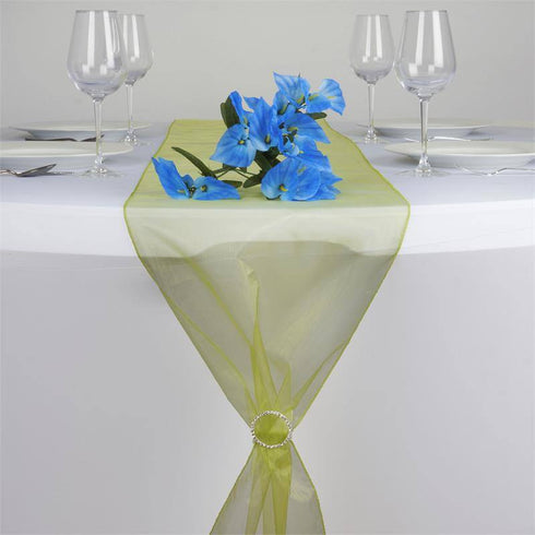 "14"" x 108"" Sage Green Organza Runner For Table Top Wedding Catering Party Decoration"