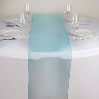"14""x108"" Turquoise Organza Runner"