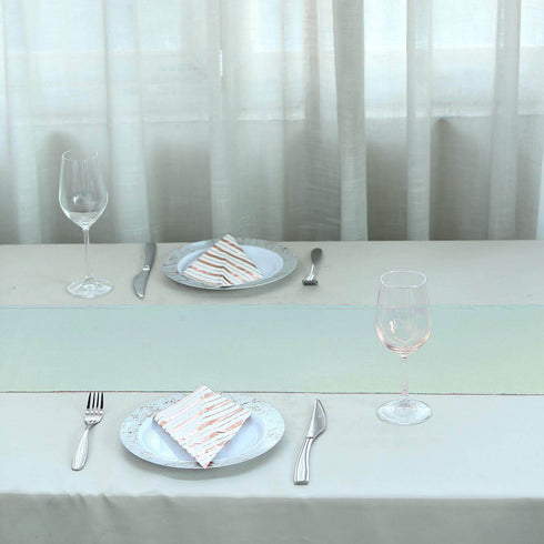 "12""x108"" Light Blue Polyester Table Runner"