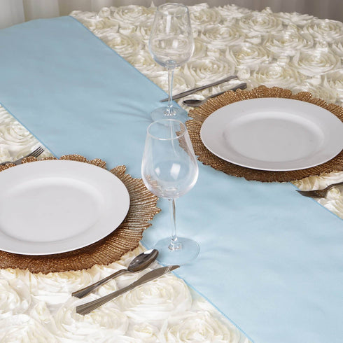 LIGHT BLUE Polyester Runner - Table Top Wedding Catering Party Decorations