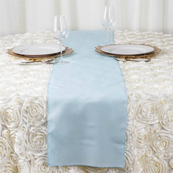 12x108 Quot Light Blue Polyester Table Runner Efavormart