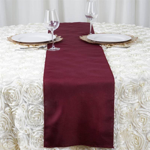 "12""x108"" Burgundy Polyester Table Runner"