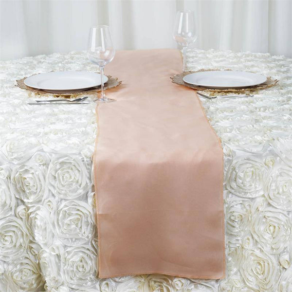 "12""x108"" Peach Polyester Table Runner"