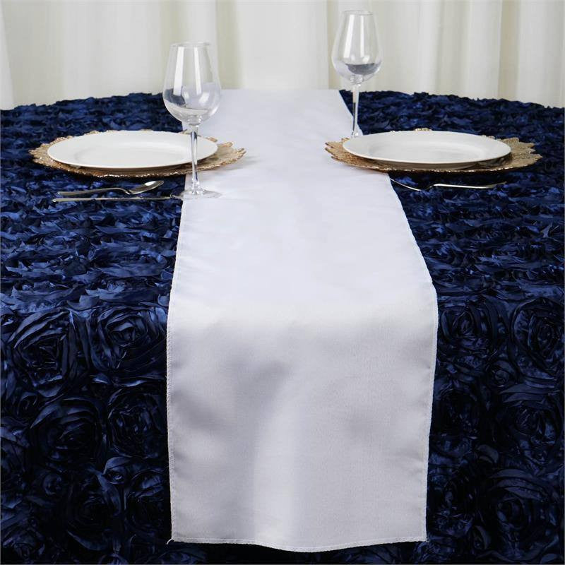 WHITE Polyester Runner - Table Top Wedding Catering Party Decorations