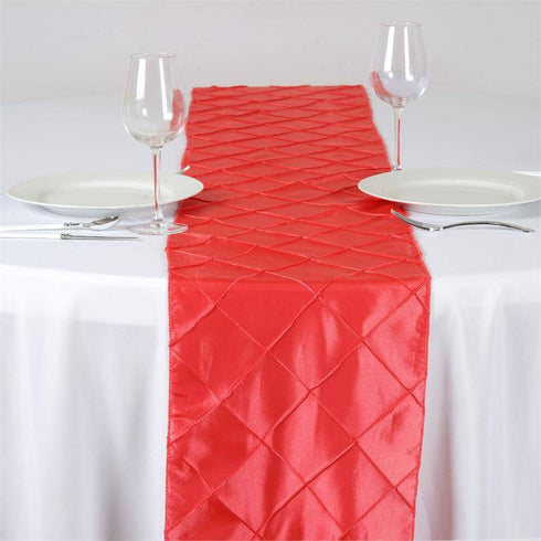 Coral Pintuck Table Runner