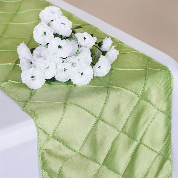 "12""x108"" Apple Green Taffeta Pintuck Table Runner"