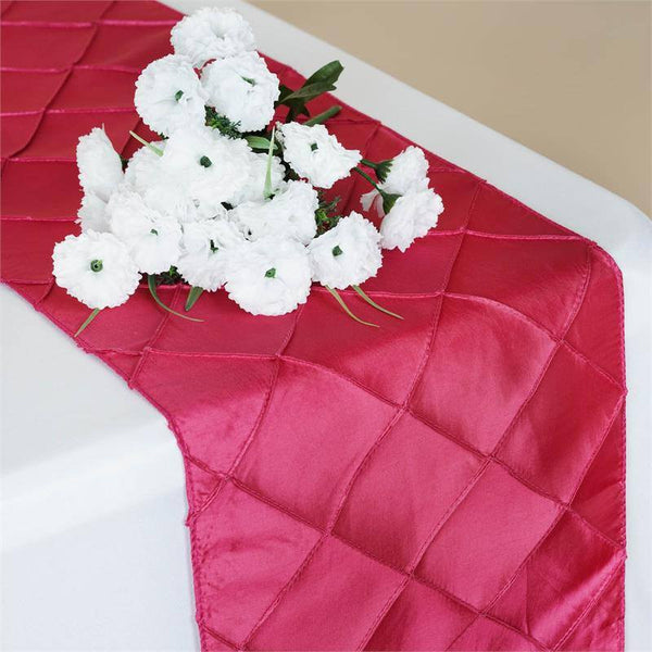 "12""x108"" Fushia Taffeta Pintuck Table Runner"