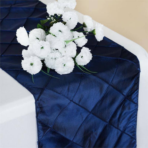 Navy Blue Pintuck Table Runner