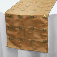"Wholesale Gold Premium Sequin Taffeta Table Runner For Wedding Party Table Decoration -14""x108"""