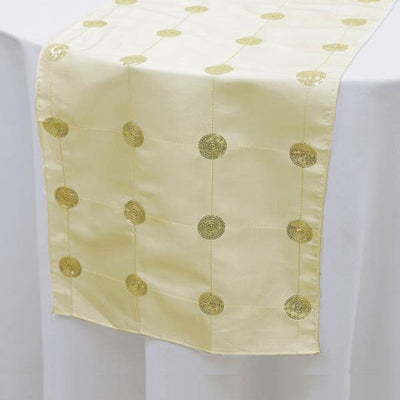 "Premium Sequin Taffeta Table Runner - 14"" x 108"" - Ivory"