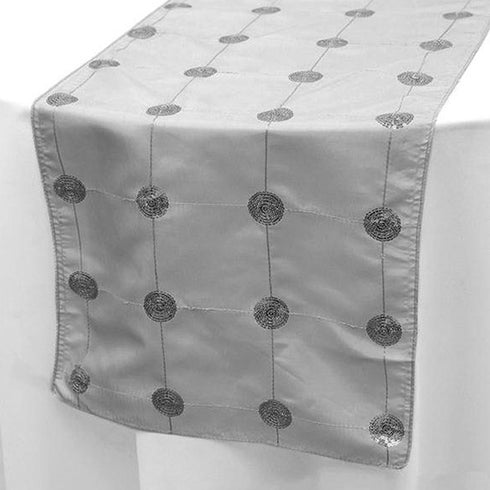 "Premium Sequin Taffeta Table Runner - 14"" x 108"" - Silver"