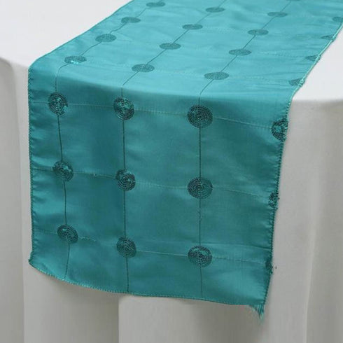 "Premium Sequin Taffeta Table Runner - 14"" x 108"" - Turquoise"